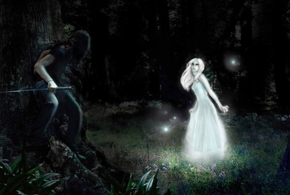The_Ghost_Woman_and_the_Hunter_by_selenka