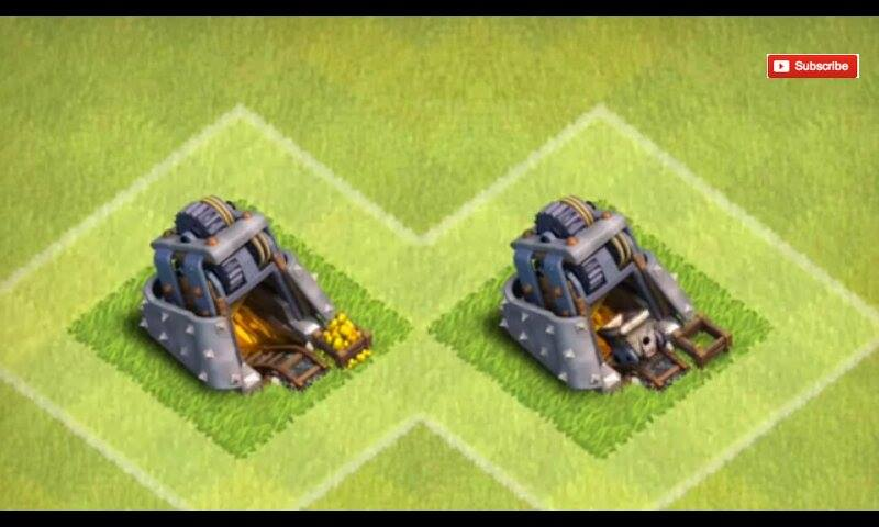 On the left, you could see outside the mine that there's some gold overflowing outside, while on the right there's none..